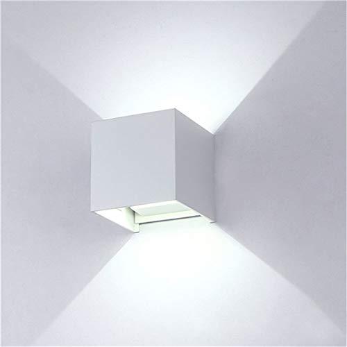XuBa wasserdichte Dimmbare Aluminium-Wandleuchte für Außenbeleuchtung, weißes Licht BD80, quadratische Abdeckung, weiße Schale, 12 W