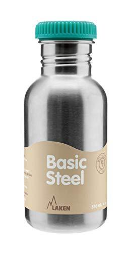 Laken Basic Steel Kinderflasche, Edelstahlflasche für Kinder mit Standard Mund, Edelstah Schraubverschluss, 500ml