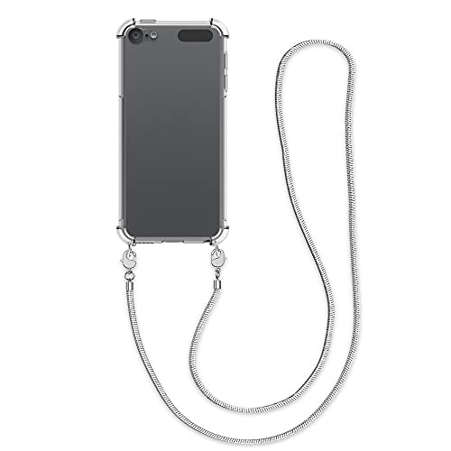 kwmobile Funda con Cuerda Compatible con Apple iPod Touch 6G / 7G (6a y 7a generación) - Carcasa Trasera de TPU con Colgante - Transparente/Plata