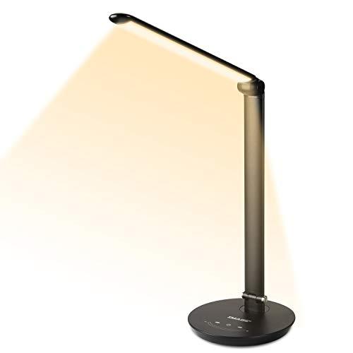 AGPTEK 12W LED Schreibtischlampe mit 72 LED Birne, Stufenlos einstellbare Touch-Control Helligkeit mit Speicherfunktion, Drehbare Tischlampe mit USB-Ladeanschluss, perfekt für Büro und Arbeit
