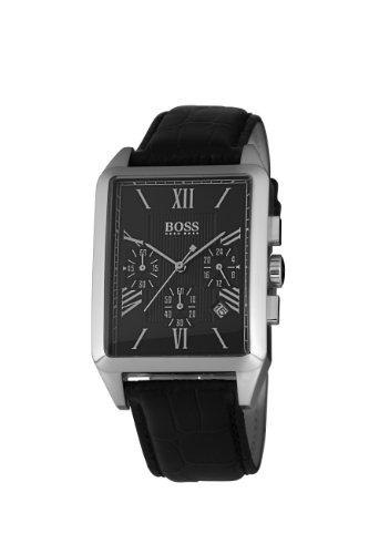 Hugo Boss 1512578 - Reloj analógico de caballero de cuarzo con correa de piel negra