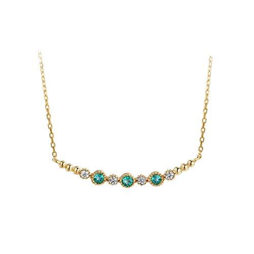AueDsa Catena Collana Verde Oro Collana Oro Giallo Donna 18K Barra con Smeraldo Diamante Verde Bianco 0.25ct