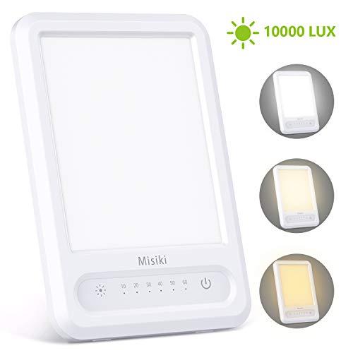 Misiki Tageslichtlampe Lichttherapielampe UV-freie 10000 Lux LED Tageslichtleuchte mit Memory & Timer-Funktion, 3 einstellbare Helligkeitsstufen, 4 Lichtintensität Touch-Steuerung Multi Winkel Ständer