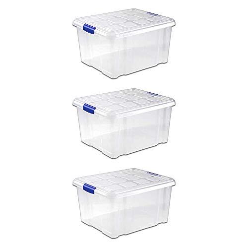 UNISHOP Lote de 3 Cajas de Almacenaje de Plástico con Tapa, Caja de Almacenamiento, Caja de Ordenación Multiusos (25L)