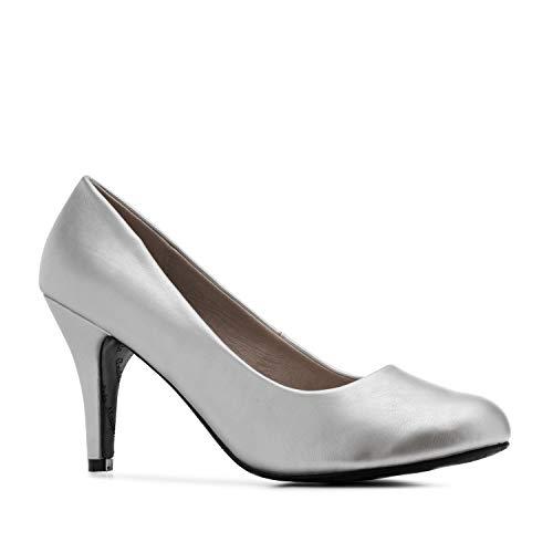 Elegante Pumps aus silbernem Lederimitat für Damen und Mädchen mit 9,5 cm Absatz – High-Heels – AM422 – In verschiedenen Farbvariationen – Größe EU 40