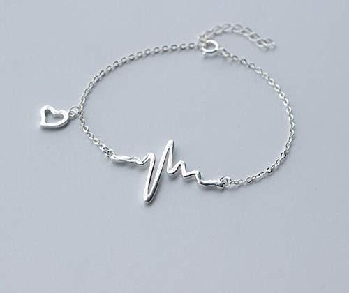 XRKHUAHUA 925 Sterling Silber Transparent Weiß Herz Rettungsleine Puls Herzförmiges Kettenarmband Einstellbar