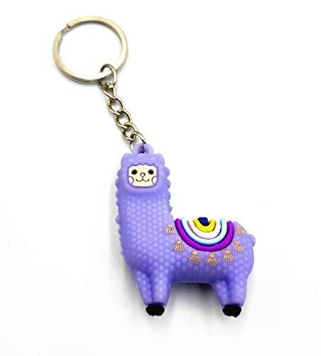 Keychain Decoration Cute Crystal French Bulldog Keychain Bag Pendant for Girls Women Dog car Key Ring Chain Pendant Kawaii Animal Keychain Trinket Keychain (Color : Alpaca Purple)