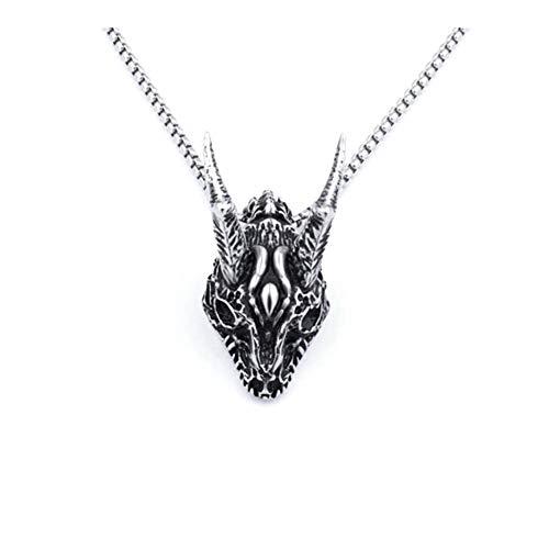 Collar Colgante de Acero de Titanio Collar de la aleación de los Hombres de Personalidad de la Vendimia Retro ovejas Warcraft Cabeza de Hombre (Metal Color : Silver)