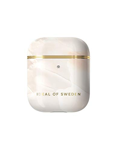 iDeal of Sweden AirPods cases, AirPods protective case compatible with AirPods 1 & 2, Qi charger compatible, LED on the front visible (rose pearl marble)