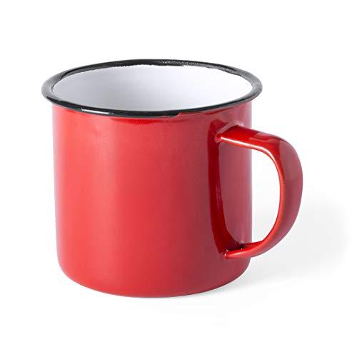 FUN FAN LINE - Set de Tazas metálicas Vintage o Retro presentada en Caja Individual (Rojo, 4 Tazas)