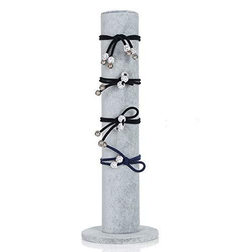 Homeanda Grey Velvet Bars Jewelry Bracelet Hairband Display Tower Organizer Holder