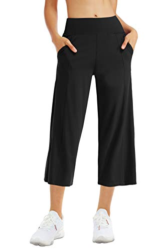 THE GYM PEOPLE Bootleg Yoga Capris Pants for Women Tummy Control High Waist Workout Flare Crop Pants with Pockets (XX-Large, Black)