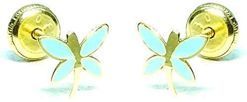 Pendientes oro 18 k, niña/mujer libélula con esmalte de calidad. Medida de la joya 6 x 7 mm. Con cierre de máxima seguridad a rosca. Ultima colección.