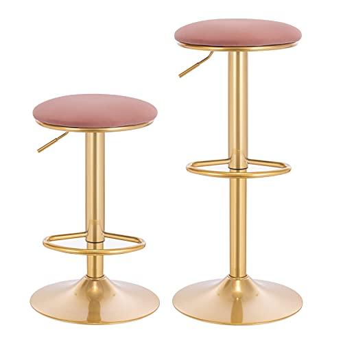WOLTU Set di 2 Sgabelli Bar con Poggiapiedi Sedia Alta con Sedile Imbottito per Cucina Altezza Regolabile Sgabello Girevole 360° in Metallo Rosa BH302rs-2