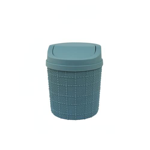 MEYYY Papelera, 2 unidades, mini cesta de basura de plástico con tapa abatible para encimeras de tocador de baño o mesa – Deseche las rondas de algodón, esponjas de maquillaje, tejidos azules