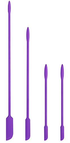 EVEREST GOOSE Silikonspatel - 4er Pack Kleiner Spatel für Make-up - Mini-Spatel - Holen Sie Sich den letzten Tropfen aus dünnen Öffnungen - Spatel für die Küche(Violett)