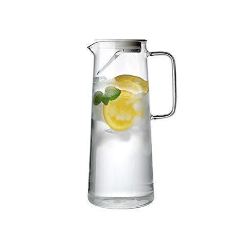 liangzishop Jarra de Agua Cristal Jarra de Vidrio de Gran Capacidad con Tapa y Mango de Jarra de Vidrio para Uso doméstico No Goteo fácil de Limpiar (1000ml / 1500ml) Jarras de Vidrio (Size : 1.5L)