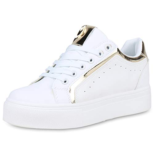SCARPE VITA Damen Plateau Sneaker Leder-Optik Plateauschuhe Schnürer Metallic Schuhe Lack Freizeit Turnschuhe 191412 Weiss Gold Metallic 36
