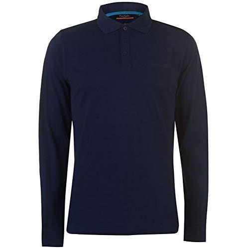 Pierre Cardin Mens Neue Saison langarm Klassisches Premium Polo T-Shirt anbringen. (Groß, Marine)