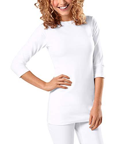 CLINIC DRESS Longshirt Damen Ringelshirt 3/4 Arm Stretch 60° weiß XL