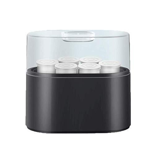 NMDD Joghurtmaschine, Haushaltsjoghurtmaschine, vollautomatischer Schlafsaal, handgefertigte Glaskeramikbecher (Farbe: Schwarz)
