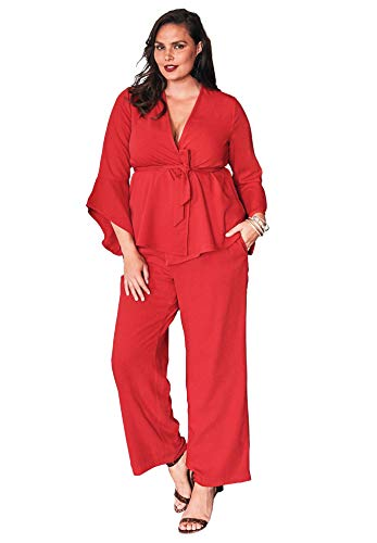 Roamans Women's Plus Size Pantsuit with Bell Sleeves - 24 W, Bright Ruby