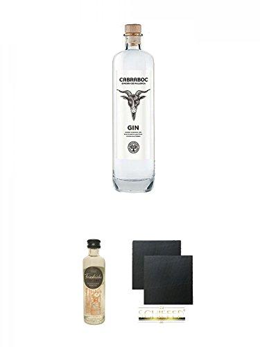 Cabraboc Gin Spanien Mallorca 0,7 Liter + Friedrichs Gin 0,04 Liter Miniatur + Schiefer Glasuntersetzer eckig ca. 9,5 cm Ø 2 Stück