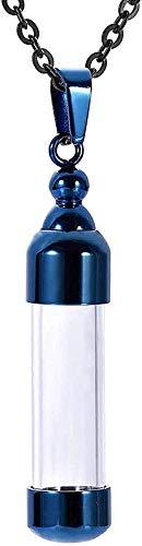 YXYSHX Colgante de Moda Collar para Hombre Cadena Gris Botella de Color a la Deriva Cristal Transparente Memorial Gris Memorial Funeral Jewelry-B