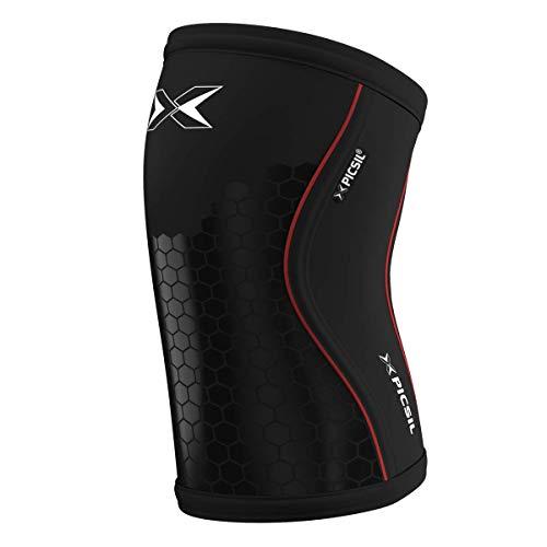 PICSIL Ginocchiere 5&7 mm Knee Sleeves - Cross Fitness, Allenamento Funzionale, Sollevamento Pesi e Altri Sport. Compressione Squats. 1 Paio Uomo e Donna (7mm - Medium, Hex Tech)