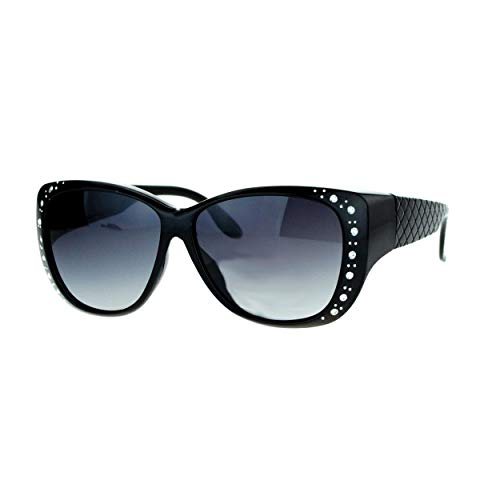 SA106 Polarized 55mm Fit Over OTG Butterfly Rhinestone Diva Sunglasses Matte Black