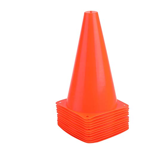 9 Inch Sports Cones, Basketball Cones, Traffic Training Cones, Agility Field Marker Cones for Soccer Football Drills Training, Outdoor Activity or Events - 12 Pack, Orange