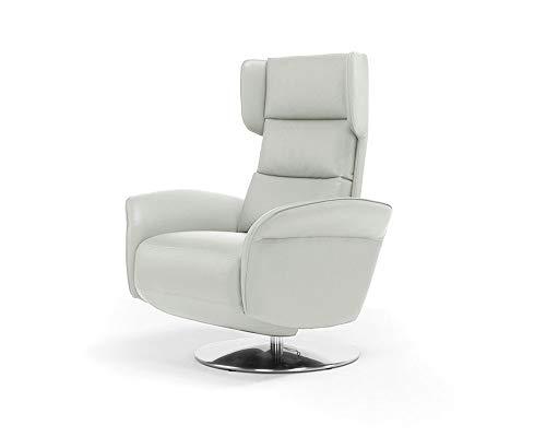 Orthomatic® draaistoel met 2 motoren Relax model Amsterdam met gemotoriseerde armleuning, stof van echt leer, verstelbaar Iva 4% Wit