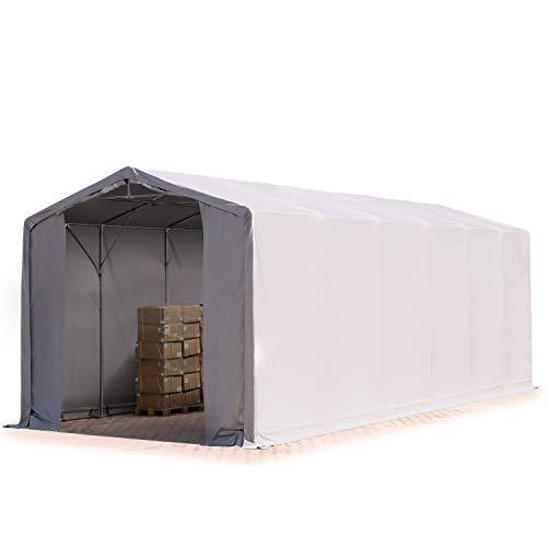 TOOLPORT Zelthalle Lagerzelt 6x12m / 3,6m Seitenhöhe Industriezelt feuersichere Plane ca. 720 g/m² PVC wasserdicht in grau