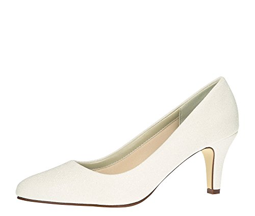Rainbow Club Brautschuhe Brooke - Pumps Off-White/Weiss Metallic Textil - Gr 40 EU 7 UK