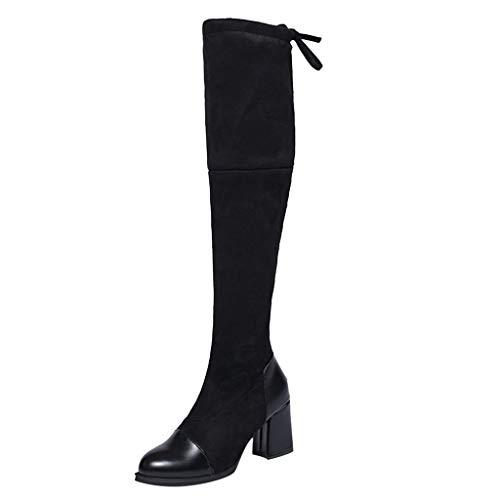 MaNMaNing-Shoes Damen Wildleder Overknee-Stiefel Plus Samt Hoher Absatz Warme Gefütterte Langschaftstiefel Winterschuhe (Schwarz, 35 EU)