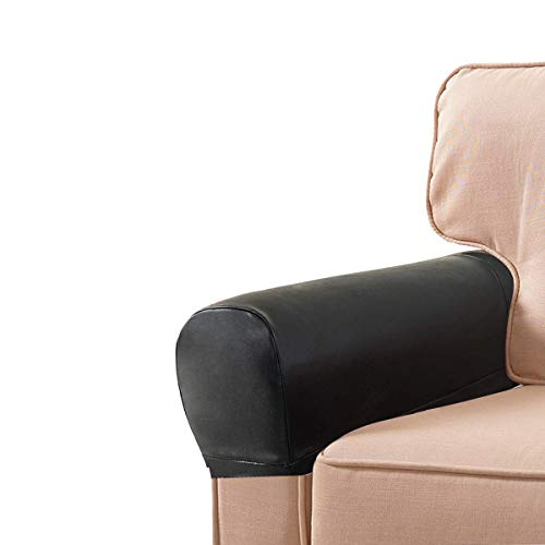 Golden Apple 1 Pair PU Leather Sofa Armrest Covers Armchair Arm Covers Stretchy Furniture Protectors for Couch Chair Arm (Black)
