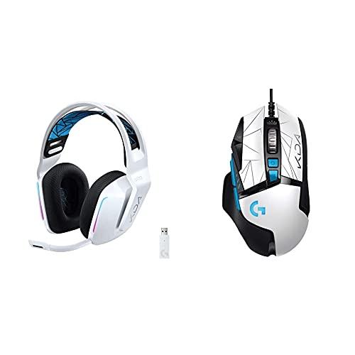 Logitech G733 K/DA LIGHTSPEED Auriculares Inalámbricos para Gaming con Diadema + G502 Hero K/DA Ratón Gaming con Cable, Sensor Hero 25K, LIGHTSYNC RGB, Peso Ajustable