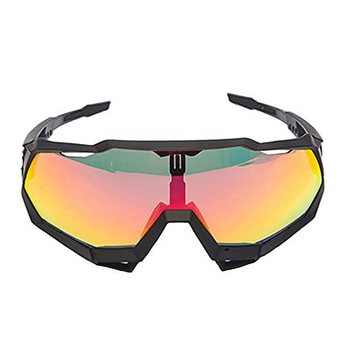 Zhixing Gafas Deportivas al Aire Libre Gafas para Montar en Bicicleta Gafas de Sol con protección Ocular para Motocicleta de Marco Completo,Black Frame Yellow,A