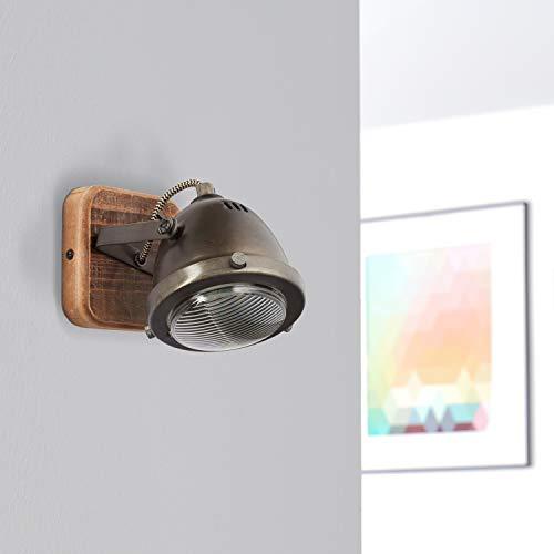 Lightbox Lámpara de pared de estilo retro, regulable, 1 foco, foco LED de pared interior orientable, casquillo GU10 para máx. 5 W, metal, acero marrón
