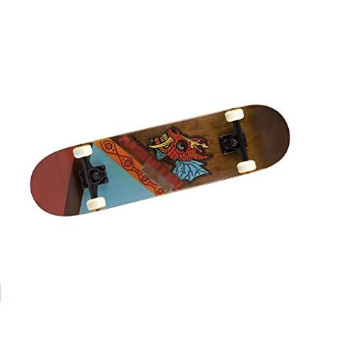 WAA Patineta Profesional Principiantes Doble Warp Action Board Adulto Arce Skateboard Hombres y Mujeres Brush Street Travel Skateboard