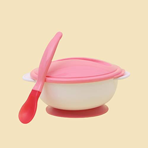 Vajilla para bebés Vajilla Cuenco de succión Comida para bebés recién nacidos Cuencos de alimentación para bebés Platos Alimentación para bebés Cuenco para comer con cuchara Rosa y blanco