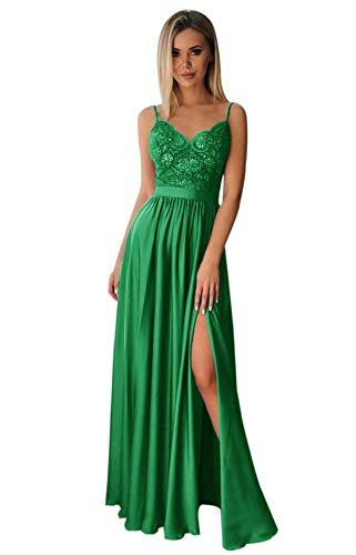 PrettyTatum Plus Size V Neck Lace Chiffon Wedding Bridesmaid Dress Long Slit Formal Evening Party Gown Emerald Green Customsize (Apparel)