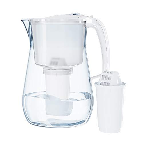 AQUAPHOR Provence Blanco, Incluye 1 Cartucho A5 – Filtro de Agua Premium con Aspecto de Cristal para Reducir la Cal, el Cloro y los Metales Pesados, Volumen 4,2 l