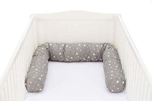 Fillikid Tour de lit serpent 180 cm tour de lit tour de lit bébé, étoiles gris