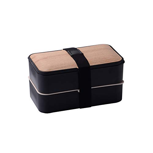 Wood Grain Double Layer Bento Box, Multi Tiered Lunch Box With Cutlery for Healthy Meals, Silicone Ring Seal Is Not Afraid Of Leakage,for Kids And Adults,Black