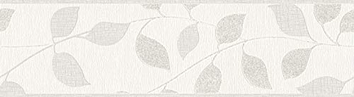 awallo selbstklebende Bordüre floral jung 5,00 m x 0,17 m grau metallic weiß Made in Germany 343241 34324-1