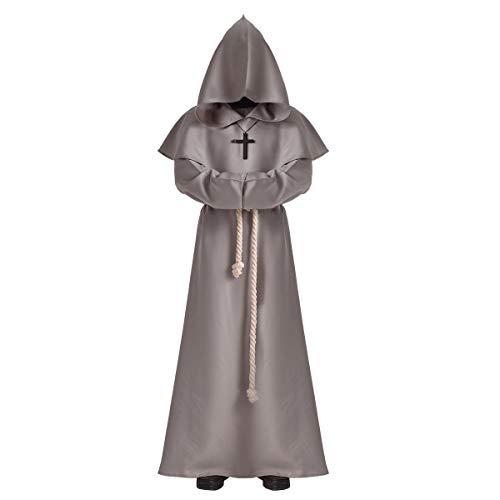 BLESSUME Medieval Friar Robe Hooded…