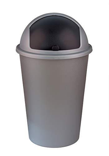 XXL Mülleimer 50L groß - grau mit schwarzem Schiebedeckel - Stabiler Kunststoff - Abfalleimer Müllsammler - für Küche, Büro, Bad