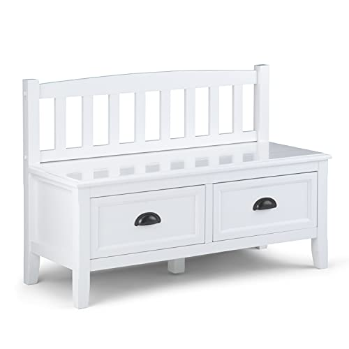 SIMPLIHOME Burlington SOLID WOOD 42 inch Wide Entryway Storage Bench with 2 Drawers, Multifunctional Traditional inWhite