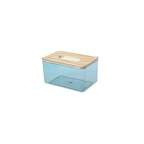 Hanpiyigzjh vävnadslåda, 1pc kvadratisk vävnad lådan täcker rack, används för badrum fåfänga bänkskivor, vertikal vävnad dispenser för sovrum eller kontorsstorlek: 9 * 10 * 18cm (Color : Blue)